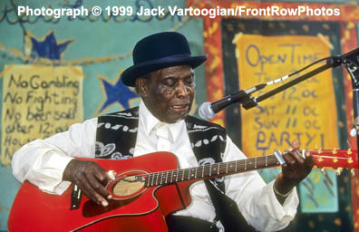 """Legendary Bluesman DAVID """"HONEYBOY"""" EDWARDS, who travelled with Robert Johnson in the 1930's, playing the Blues on the Mississippi Juke Joint Stage at the 16th Annual Chicago Blues Festival, Grant Park, Chicago, IL, Friday, 04 June 1999."""