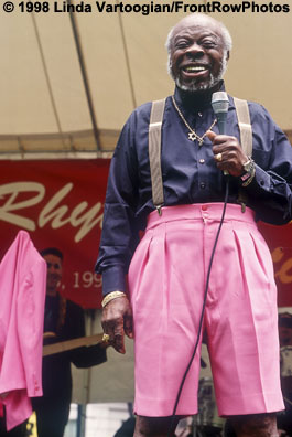 """RUFUS THOMAS, """"The World's Oldest Teenager,"""" performing at the BAM Rhythm & Blues Festival at Metrotech Center, Brookln, NY, Thursday, 11 June 1998."""
