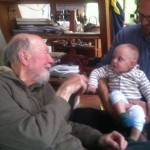 Pete Seeger at home in Beacon, NY with Jonah, 11 months and father Adam Green; October, 2013.